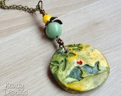 Love Birds Necklace. Kissing Birds Necklace. Handmade Watercolor Clay Pendant yellow green. Love necklace. Romantic Gift. Kissing birds