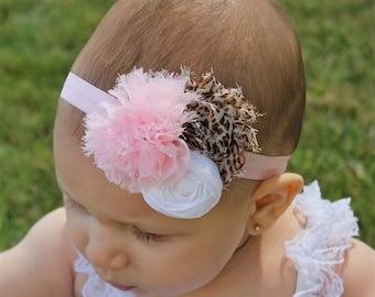 Pink Cheetah Headband - Newborn Headband - Baby Cheetah Headband