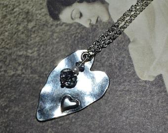 Heart Necklace, Asymmetrical Heart, Modern Jewelry, Shiny Silver Heart, Elongated Heart, Hammered Pendant, Silver Heart Charm, Heart Jewelry