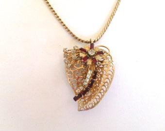 Red Rhinestone Heart Pendant Necklace Retro Romantic Vintage Jewelry