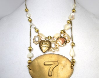 Lucky in Love Forever # 7 Necklace Mother of Pearl Brass Charm Cluster Locket