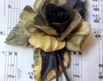 Black Gold Rose lariat necklace - handmade with clay