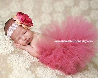 Rose Pink Tutu Dusty Rose Tutu Vintage Pink Tutu Baby Tutu Newborn Photo Prop Tutu And Flower Headband Cake Smash Tutu Cake Smash Outfit