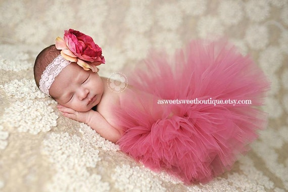 Sweet Precious Rose Baby Couture Tutu Custom Made With Matching Flower Headband Beautiful Newborn Photo Prop Many Colors Available
