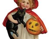 1 1/2 Fabric Cat Button - Halloween Pumpkin Black Cat Orange Coral  Harvest Witch Girl