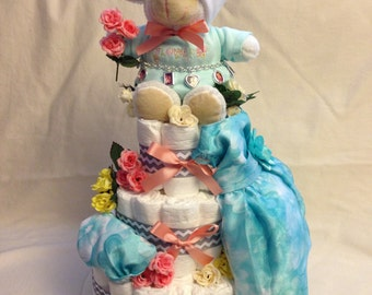 Baby Girl 3 tier Diaper cake - an adorable diaper baby shower gift - made to order