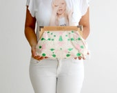 Hand painted clutch, fashion accessories,green and pink,cotton bag