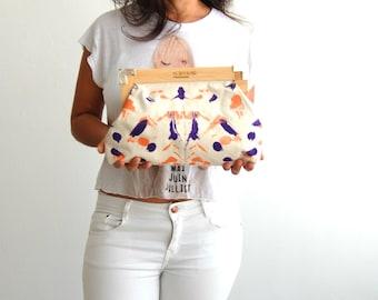 Vegan bag, Hand painted clutch, canvas clutch bag, metallic purple and orange