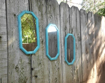 Large Aqua Turquoise Teal Blue Mirror Rustic Shabby Chic Distressed Beach Cottage Coastal Seaside Tropical Island Home Decor Gift for Her