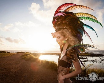 "Customizable HUGE Rainbow Feather Mohawk / Headdress with earrings - ""Rainbow Extreme"""