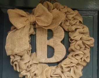 Burlap Wreath with Big Burlap Bow-Twine Wrapped Monogram Wreath-Front Door Wreath- Wedding Gift- Year Round Wreath-