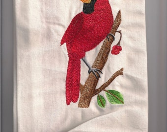 NEW Tea Towel embroidered with CARDINAL