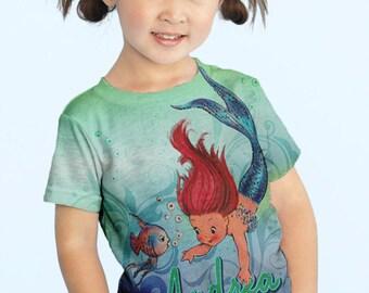 Mermaid Shirt, Personalized Girls Mermaid T-Shirt, Little Mermaid Top, Children's Clothing