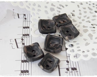Black Clay Buttons, Polymer Clay Buttons, Small Square Buttons, Rectangular Buttons, Small Oblong Buttons, Charcoal  Buttons, Small Buttons