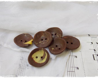 Brown And Yellow Buttons, Chocolate Brown Buttons, Polymer Clay Buttons, Large Handmade Pastel Button, Extra Large Buttons, Washable Buttons