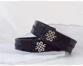 Men's Celtic Bracelet, Infinity Knot Bracelet, Black Leather Bracelet, Celtic Leather Bracelet, Irish Gaelic Bracelet, Black Leather Jewelry