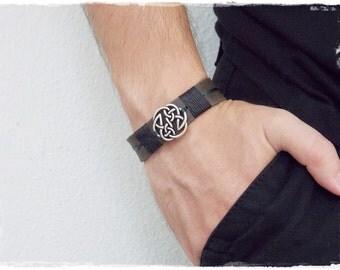 Men's Leather Bracelet, Leather Celtic Bracelet, Pagan Bracelet, Leather Celtic Bracelet, Viking Norse Bracelet, Shield Of Destiny Bracelet
