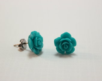 Turquoise rose studs - teal blooming flowers on titanium earrings - NICKEL FREE for sensitive ears