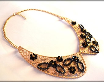 Collar Necklace, Metal Collar, Gold Collar, Gold Necklace, Lace Collar, Statement Necklace, Bib Necklace