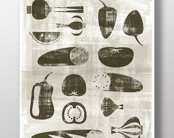 Printable Gazpacho food poster - Original ILLUSTRATED Ingredients Digital Image Download