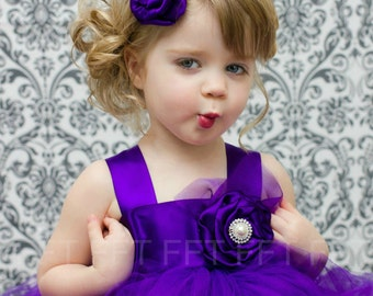 Royal Purple Flower Girl Tutu Dress