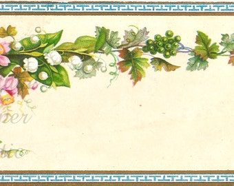 Pink Flowers Lily of the Valley & Grapes Antique French Chromo Card from Vintage Paper Attic