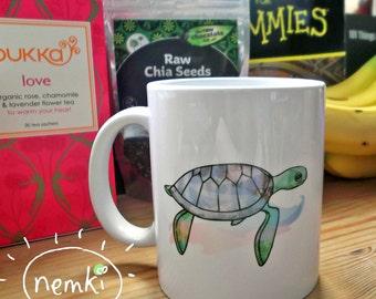 Turtle Mug, Ceramic, Illustrated