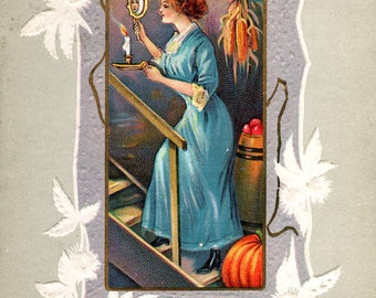 A Joyous Hallowe'en, giclee print reproduction of a vintage postcard