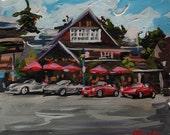 """Original Painting // West Vancouver Porsche Meet Dundarave (Vancouver no. 12) // 9"""" x 8"""" // Original Acrylic Painting on Paper"""