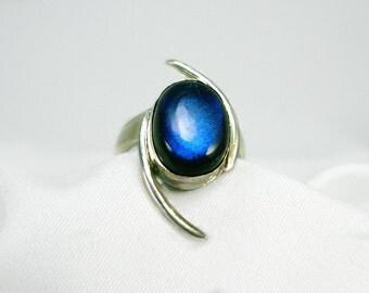 Blue Flash Labradorite & Sterling Silver Ring, Original Artisan Design, Wide Band, Statement Ring, Brilliant blue flash, gift idea 4 her