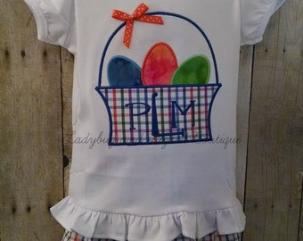 Girl's Easter Egg Basket Top with Monogram and Multi-Plaid Ruffle Shorts Outfit Size 12M-18M, 2T-5T,6