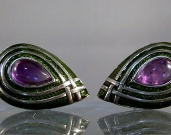 Vintage Earrings Green Enamel Amethyst Sterling Silver Clip on Earrings Gift Quality and Ready to Wear DanPickedMinerals