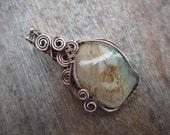 Larsonite Wire Wrapped in Copper, Copper Jewelry, Handmade, Stone Pendant,