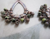 Copper Wire Wrapped Rusic Earrings, Handmade Jewelry, Earthy Green, Gypsy Girl, Dangle Earrings