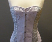 Plus Size Overbust Steel Boned White Corset Covered in Rhinestones