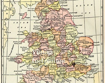 Antique Map ENGLAND and WALES Vintage Map atlas page