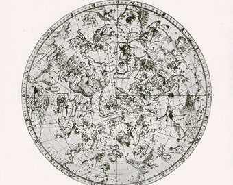 Astronomy Print bookplate NORTHERN STAR MAP, 1940s, Constellations, 1729 star chart, astronomical star stars constellation astrology space