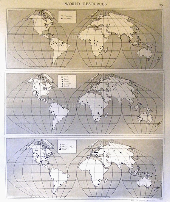 Large Antique WORLD Map 1940s ORIGINAL Map of the World
