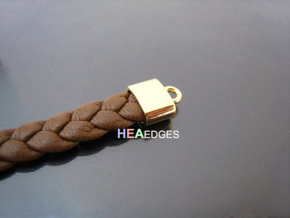 6pcs Gold End Caps - Findings Small Flat Leather Cord Ends Cap with Loop 10mm x 9mm x 5mm ( inside 7mm x 3mm )