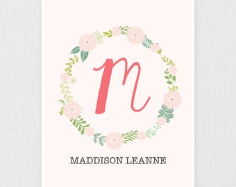 Personalized Name Print - Nursery Art - Artwork for Baby - Child's Name Print - Custom Name Art - Floral Name Print