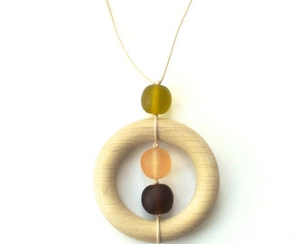 Wood Teething/ Nursing Necklace for Mom - Wooden Teether Chocolate Brown, Olive Green and Peach