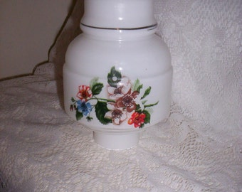 Vintage White Glass Lamp Shade Replacement globe w/ Flowers Only 5 USD