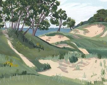 "Saugatuck Dunes Landscape Print - 15"" x 10.25"" - Lake Michigan Illustration - Michigan Painting - Beach"
