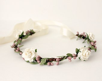 Bohemian Floral Crown,  White Flower Crown. Woodland, Spring, Hair Wreath, Hair Accessories, Floral, boho, wedding, bridal headpiece