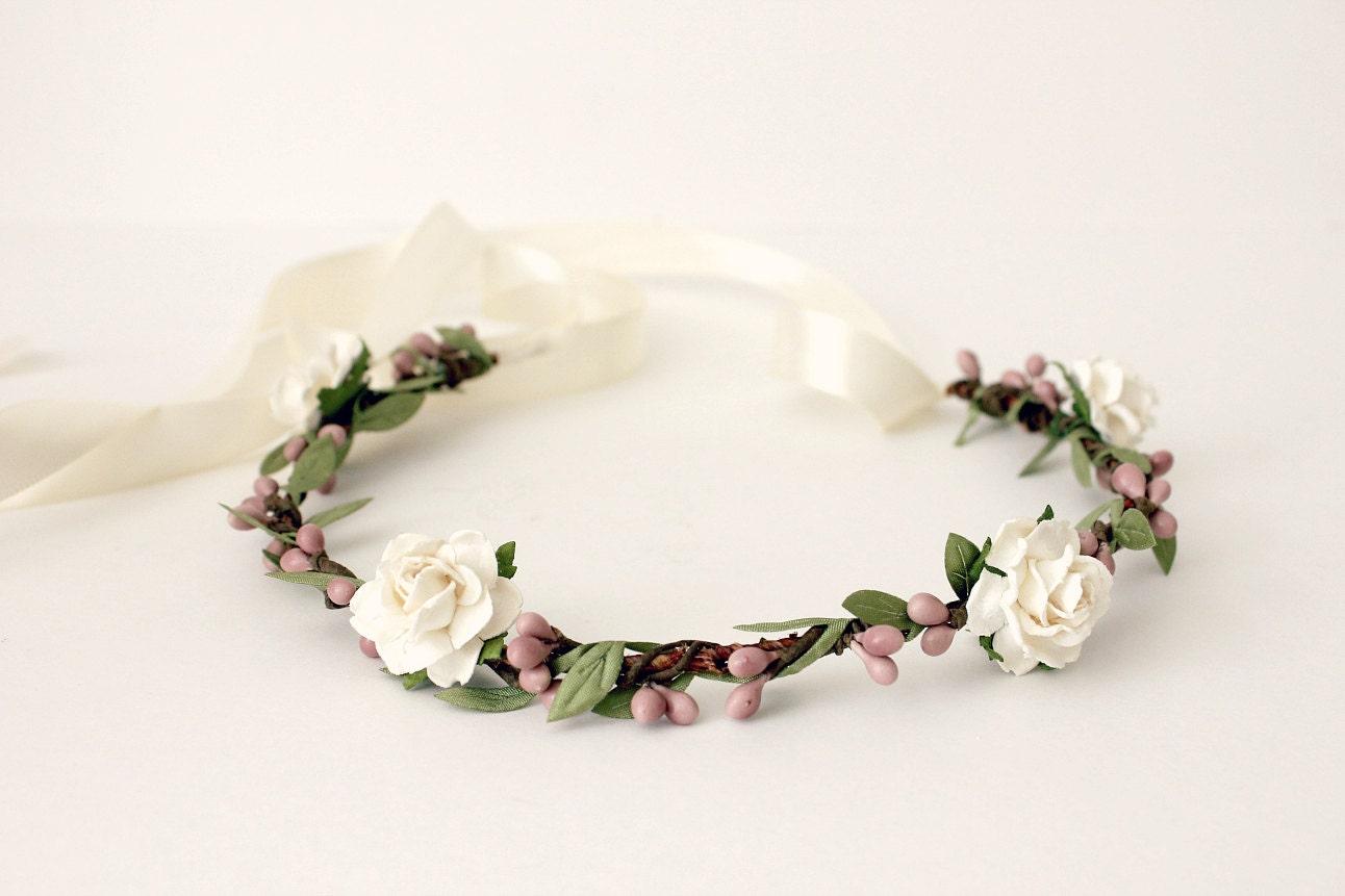 Bohemian Floral Crown White Flower Crown Woodland Spring