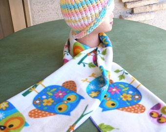 "Handmade Knitted Hat w/ Handmade ""Owls"" Fleece Scarf, Matching Set, Super Soft Hat!, Blues, Pinks, Greens, Yellows"