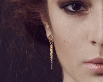 Maya Drop Earring - Sterling Silver with partial 24k Gold plated and Dark Patina - Statement, gold
