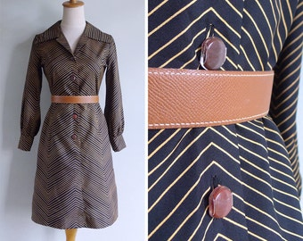 Vintage 70's Bumble Bee Zig Zag Striped Shirt Dress XS or S