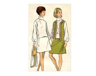 1960s Vogue Dress Pattern High Roll Collar Blouson Dress and Vest Jacket Drop Waist Full Sleeves Vogue 7620 Bust 32 Vintage Sewing Pattern