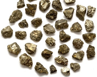 """1/4 lb PYRITE Medium Nugget Rough Tumbled Stone Mixed Size (.40"""" - .80"""")  - Raw Stone, Gem, Jewelry & Crafts Healing Crystals and Stones Set"""